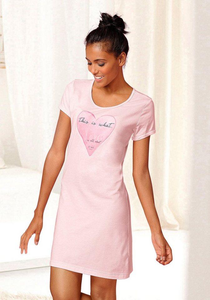 Vivance Dreams Figurbetontes Sleepshirt »Amy« mit Frontprint in rosa
