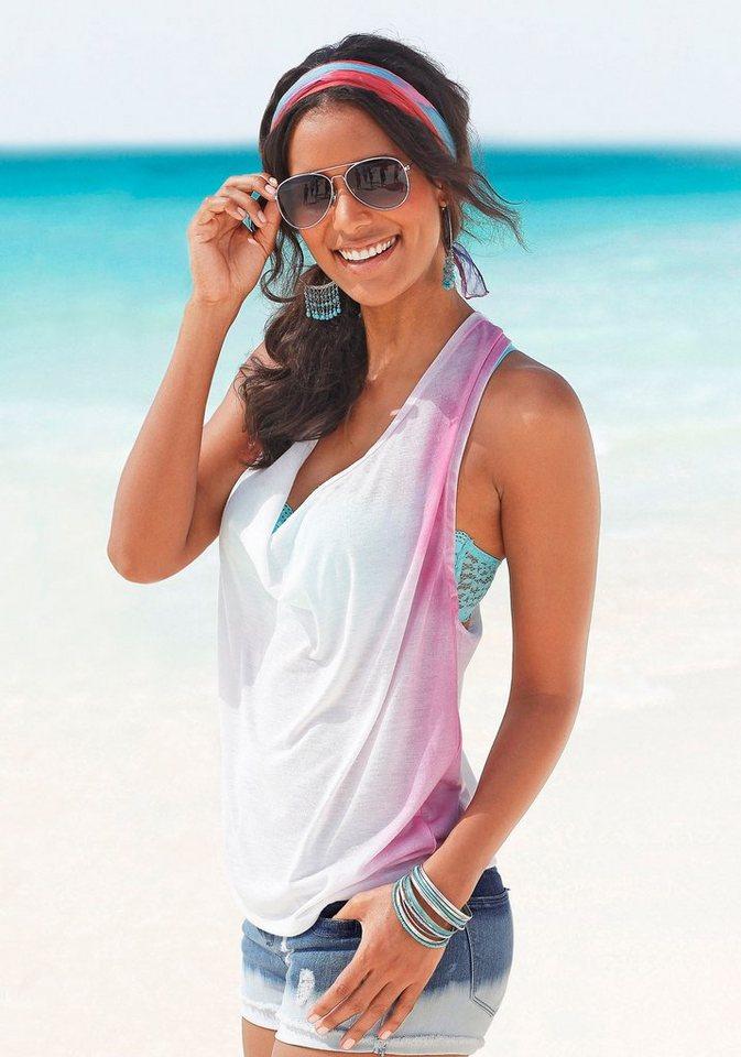 s.Oliver RED LABEL Beachwear Strandtop mit seitlichem Farbverlauf in weiß-pink