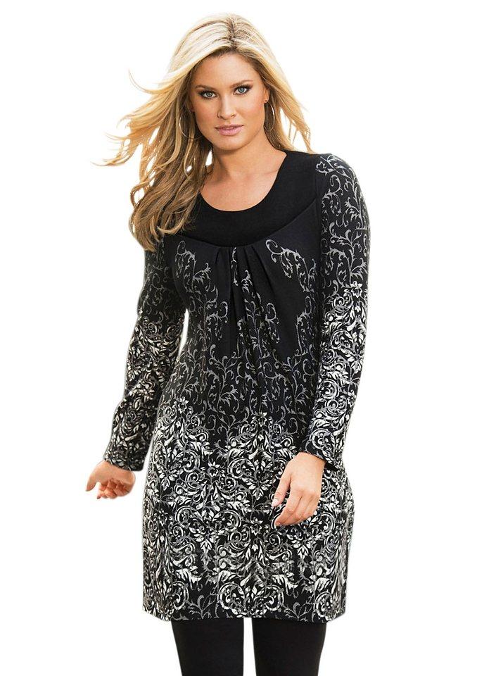 Ambria Longshirt mit leicht gerafftem Ausschnitt in schwarz-ecru