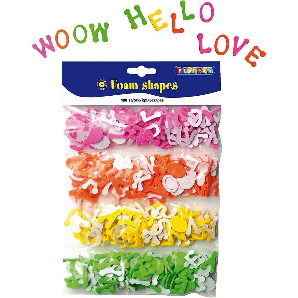Playbox Moosgummi-Buchstaben, selbstklebend, 400 Stück