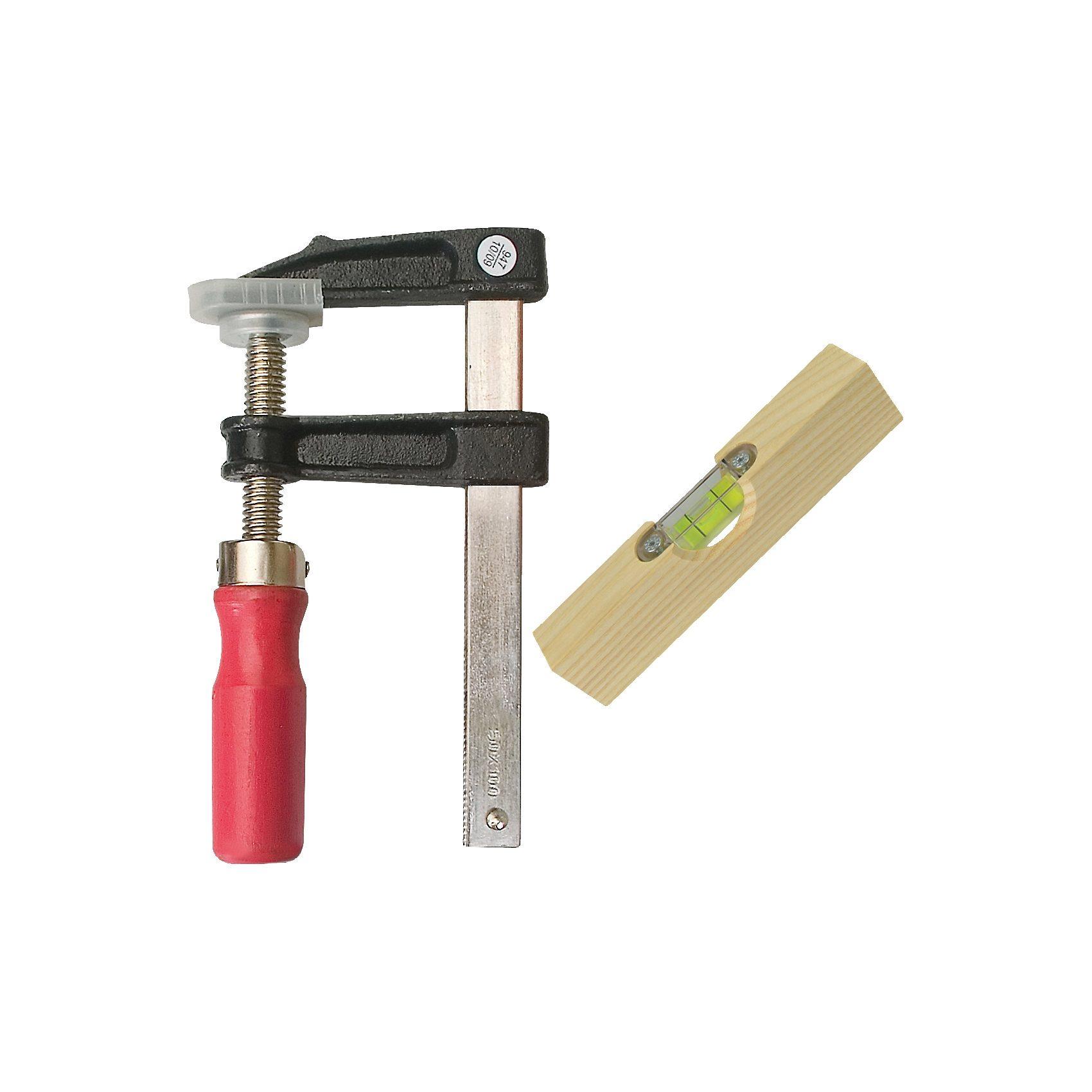 Pebaro Werkzeug-Set Schraubzwinge mit Wasserwaage