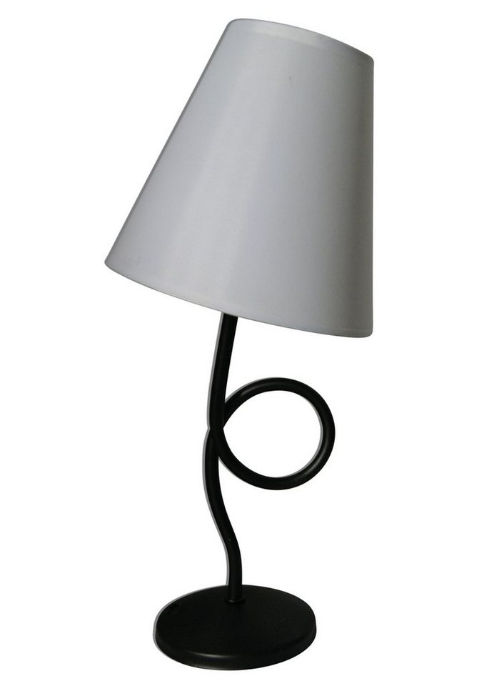 Näve Tischleuchte, 1 flammig, ohne Leuchtmittel in Leuchte Metall schwarz, Schirm Textil weiß