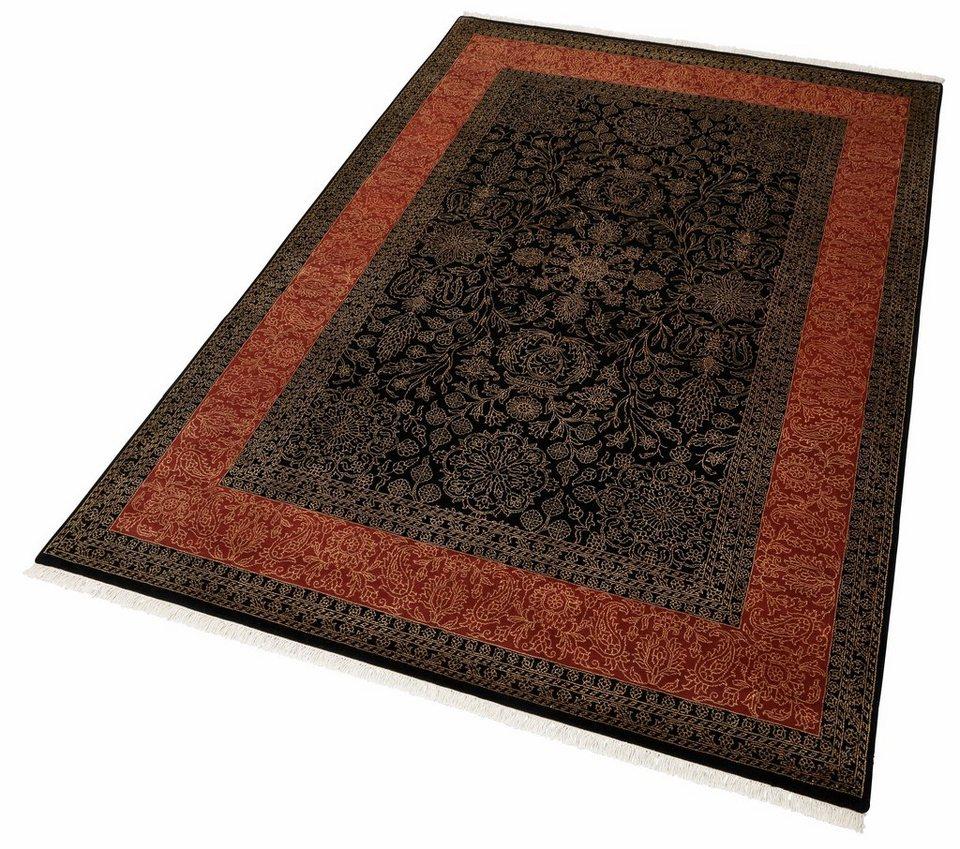 Orient-Teppich, Parwis, »Moglu Elegance«, 150 000 Knoten/m², handgeknüpft, 100% Schurwolle, Unikat in schwarz/rot