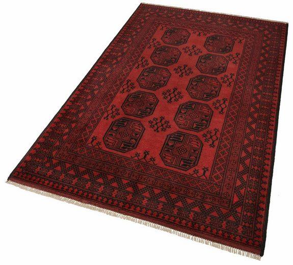 Orientteppich »Afghan Aktsche«, Parwis, rechteckig, Höhe 10 mm, 90 000 Knoten/m², Schurwolle, Unikat, von Hand geknüpft