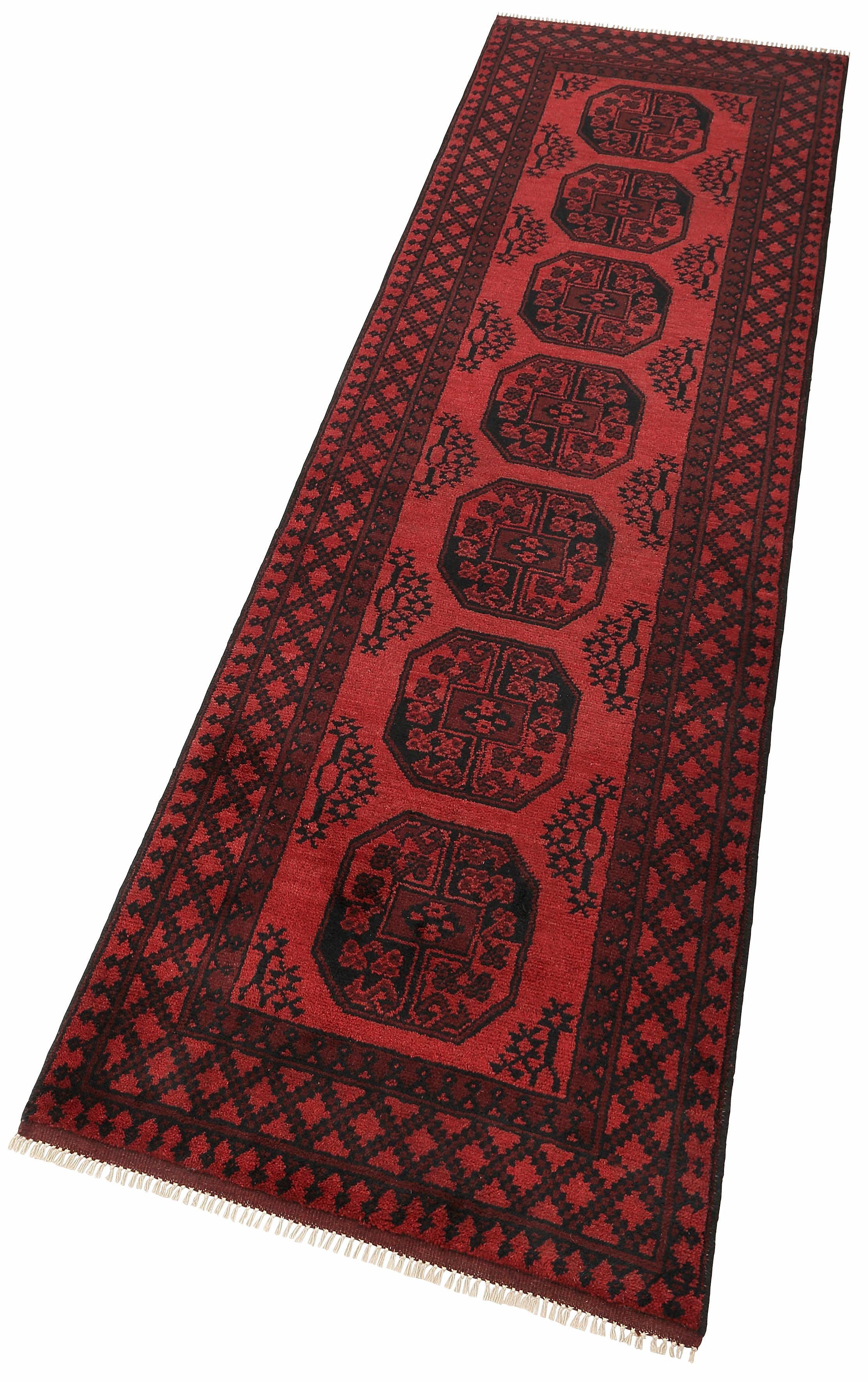 Läufer, Parwis, »Afghan Aktsche«, 90 000 Knoten/m², handgeknüpft, reine Schurwolle, Unikat