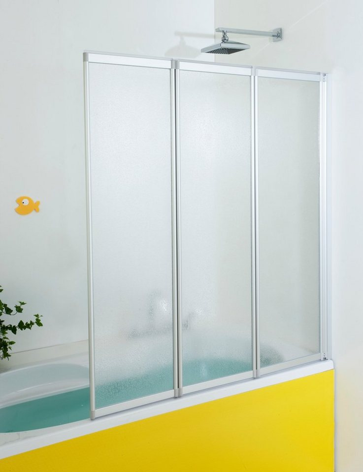 Badewannenaufsatz 3-teilig, 130 Zentimeter in silberfarben