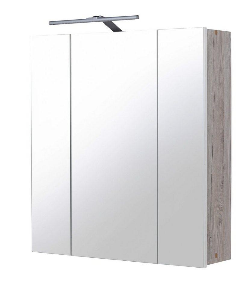 Spiegelschrank »New York« Breite 60 cm, mit LED-Beleuchtung in eichefarben
