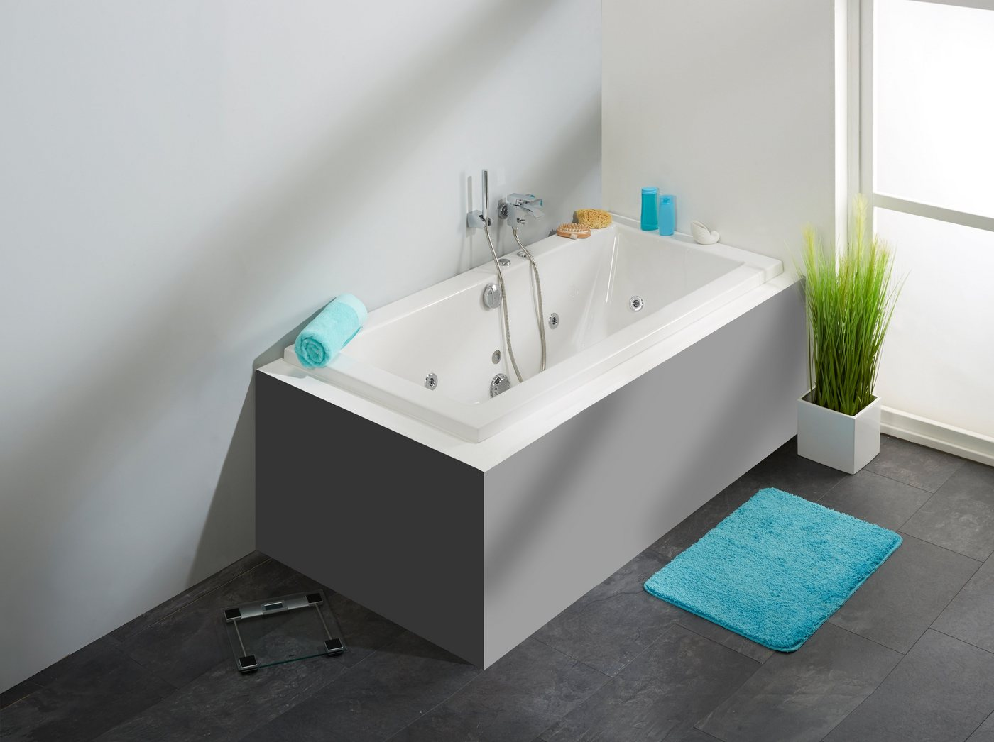 OTTOFOND Whirlpoolwanne »Cubic«, B/T/H in cm: 180/80/65,5; mit Whirlpool-System 1