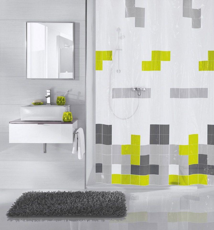 Duschvorhang »Pixie« in weiß/grau schwarz/grün
