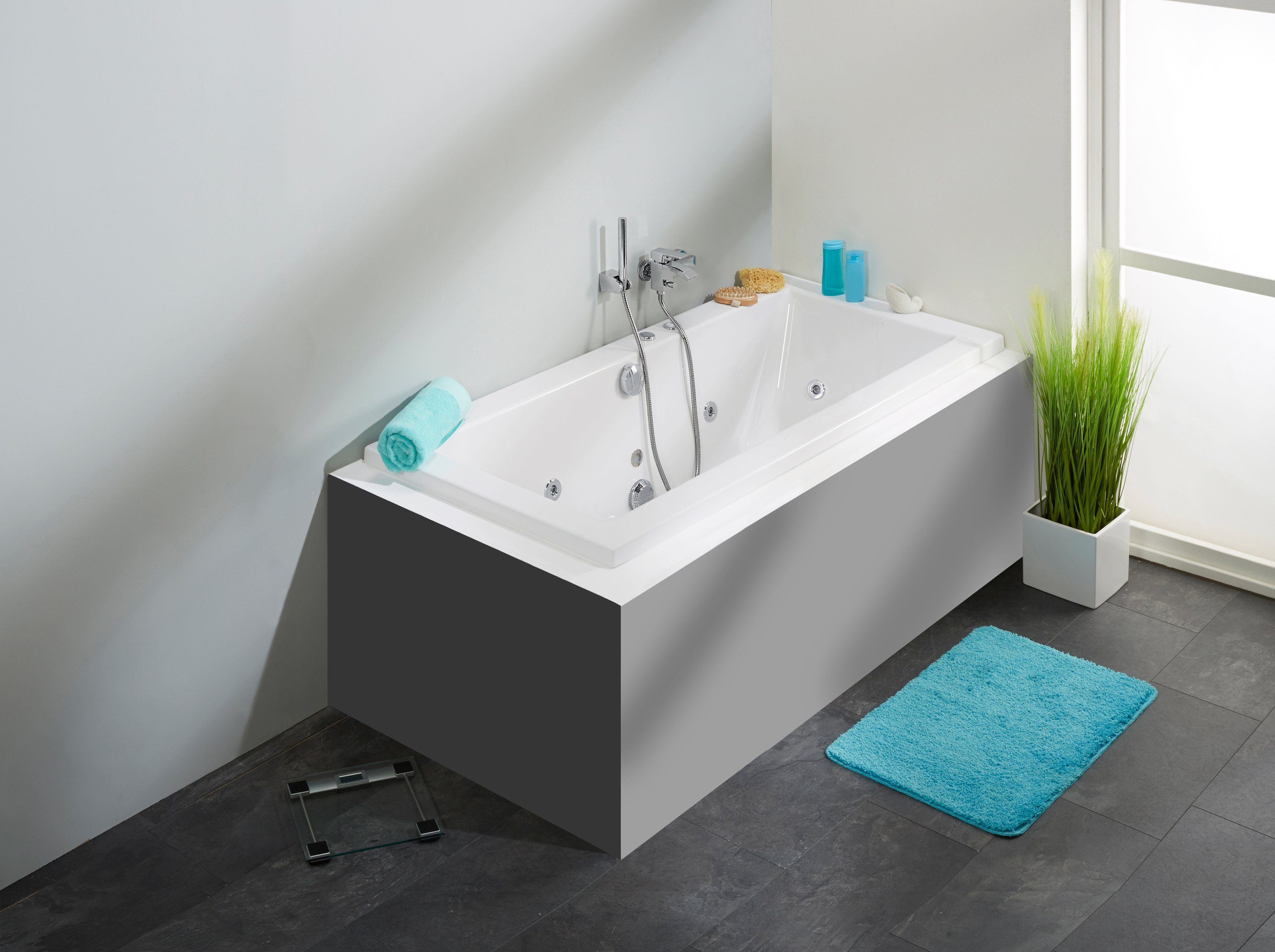 OTTOFOND Whirlpoolwanne »Cubic«, B/T/H in cm: 180/80/62,5; Whirlpool-System Premium