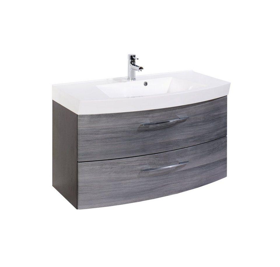 Held Möbel Waschtisch »Florida«, Breite 100 cm, (2-tlg.) in grau x graphitfarben/rauchsilber