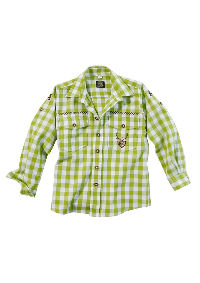 Kinder Trachtenhemd mit Krempelärmel, OS-Trachten in apfelgrün