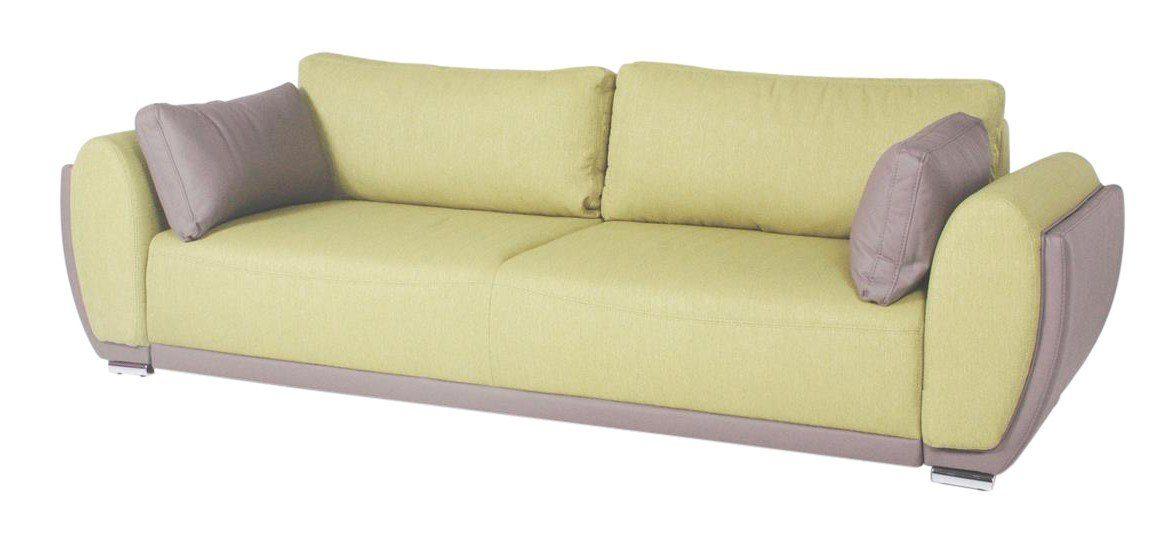 Kasper-Wohndesign Sofa Schlafsofa mit Staufunktion grau grün »ALMADA«