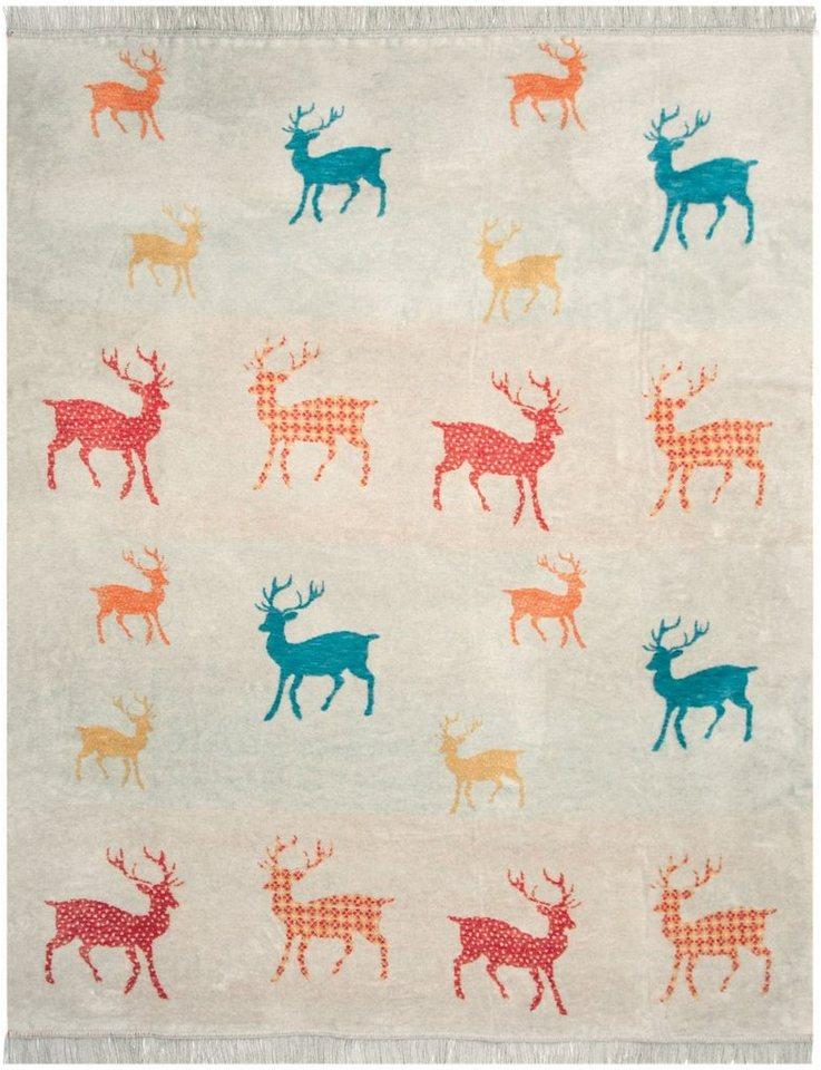 Wohndecke, Pad, »Bambi«, mit kleinen Hirschen in rot