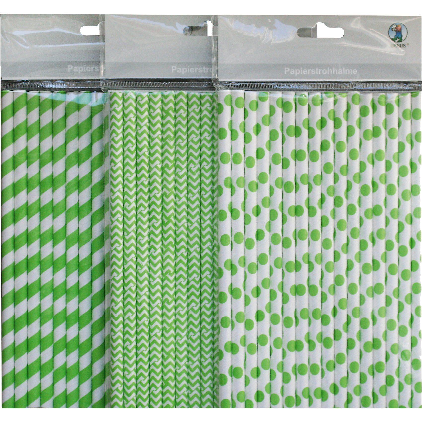 URSUS Papierstrohhalm-Set grün, 48-tlg.