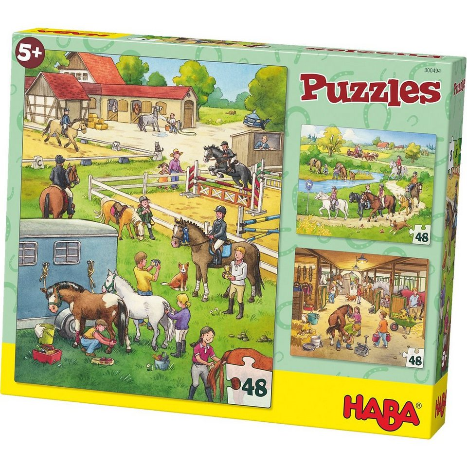 Haba 3er Puzzle-Set - Pferdehof - 48 Teile