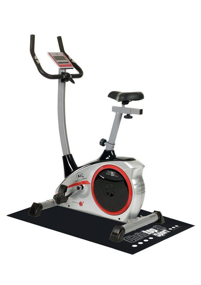Christopeit Sport® Heimtrainer Ergometer inkl. Unterlegmatte, »AL 2« in silberfarben-schwarz-rot
