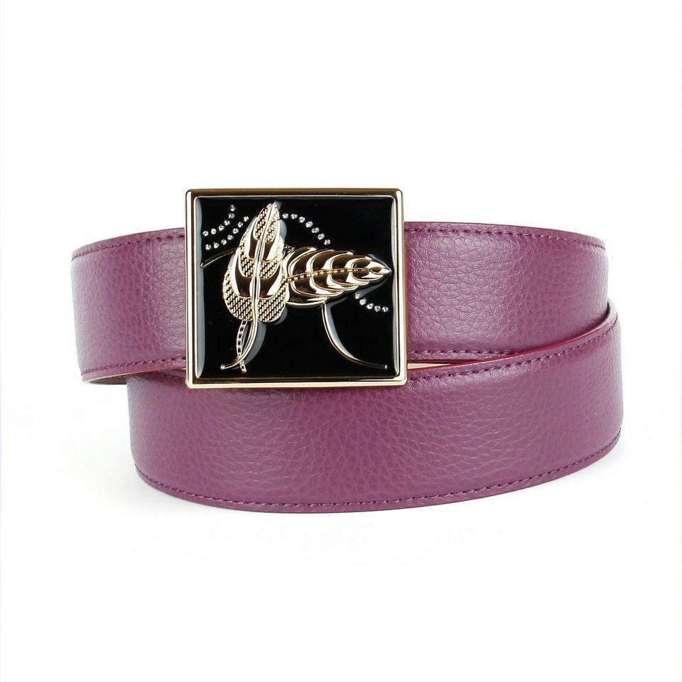 Anthoni Crown Ledergürtel handgefertigter Glasur-Schließe in Lila