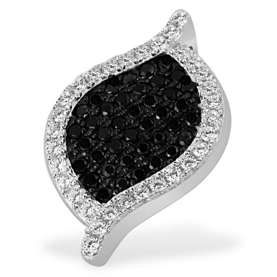 goldmaid Collier Black Pavee 925 Sterlingsilber 49 schwarz-weiße Zirkonia in silberfarben