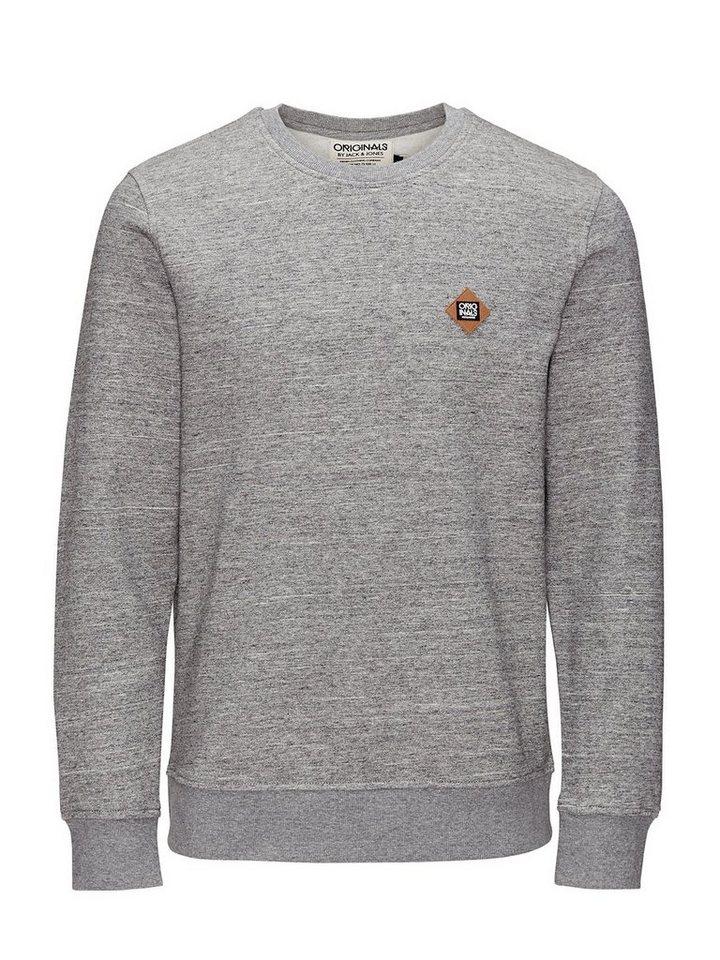 Jack & Jones Klassisch, Melange, Rundhalsausschnitt Sweatshirt in Light Grey Melange