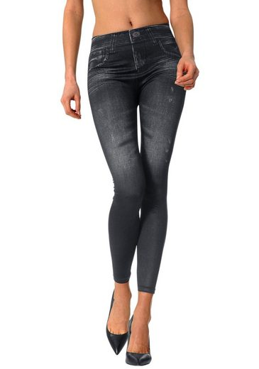 Seamless Leggings (2 Pieces) With Printed Jeansoptik