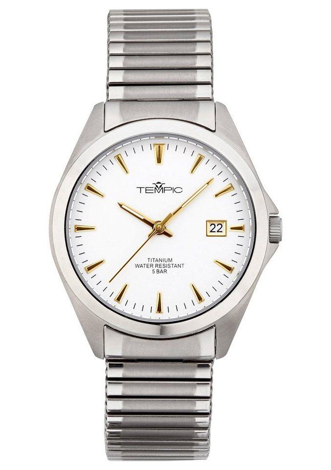 "Tempic, Armbanduhr, ""TEGT-50312-11M"" in silberfarben-weiß"
