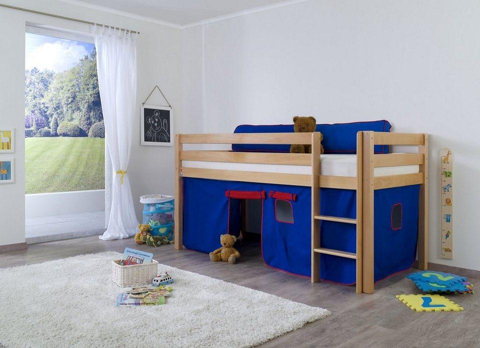 Relita Halbhohes Bett, Set >>Alex<< in blau-rot