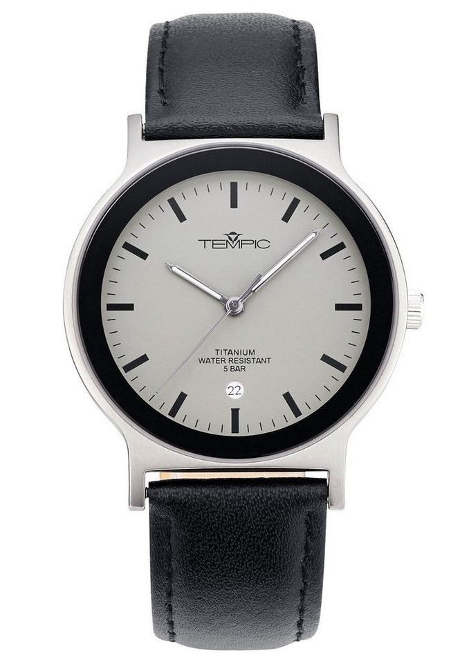 "Tempic, Armbanduhr, ""TEGT-50290-51L"" in schwarz"
