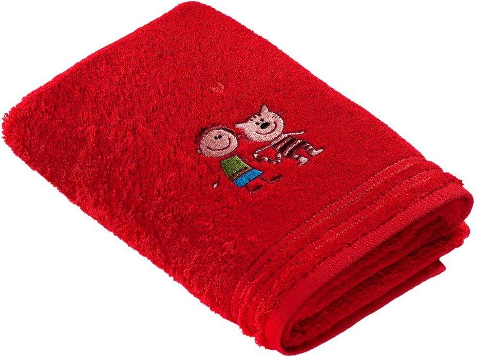 Handtücher, Vossen, »Kiddy Katze«, mit tollem Tiermotiv in rot