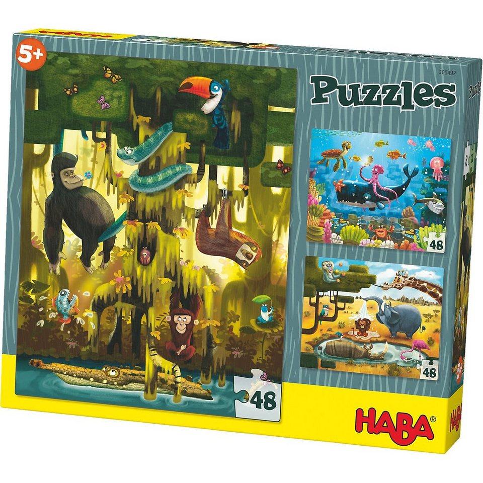 Haba 3er Puzzle-Set - Tiere der Welt - 48 Teile