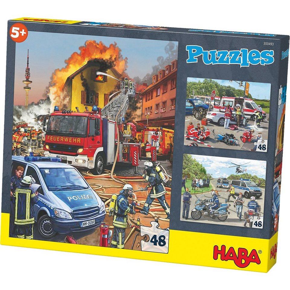 Haba 3er Puzzle-Set - Einsatzfahrzeuge - 48 Teile