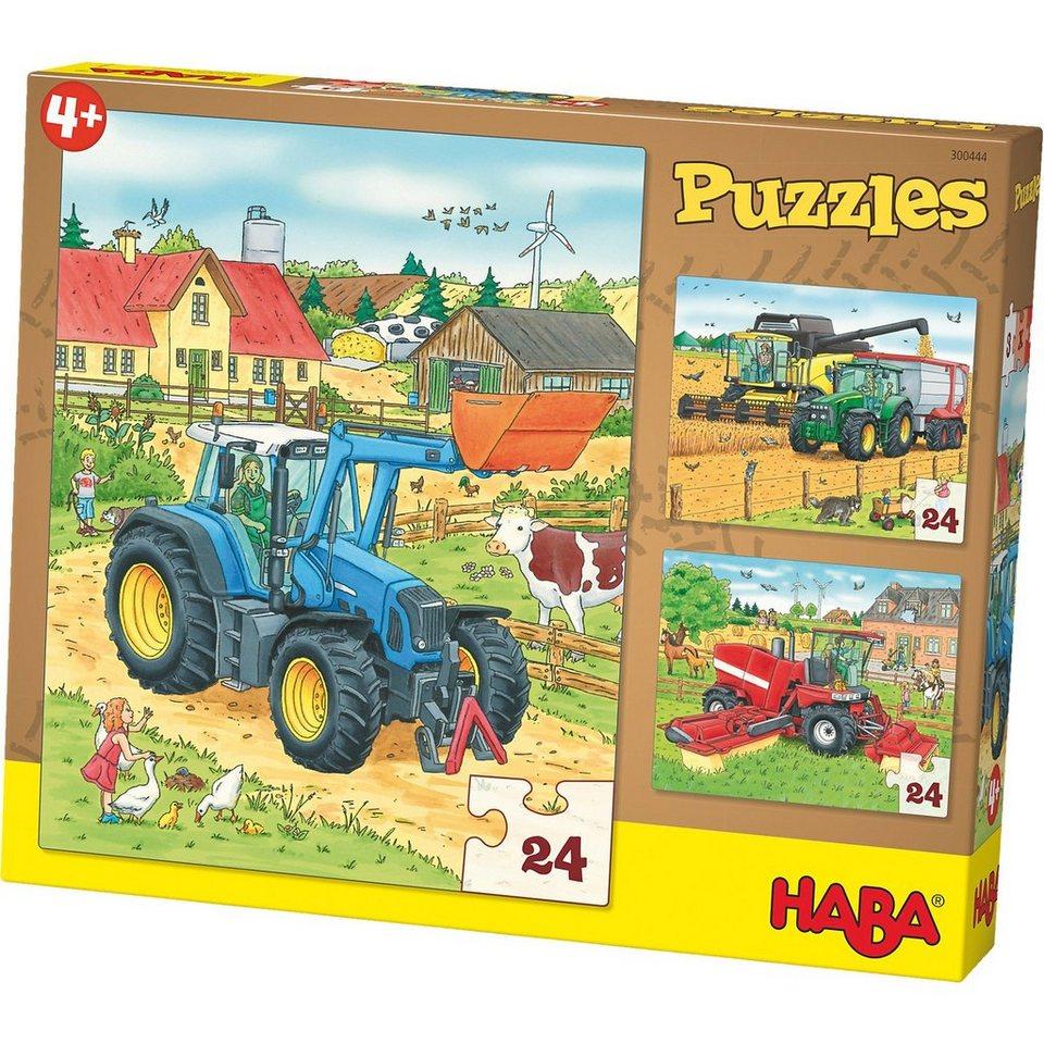 Haba 3er Puzzle-Set - Traktor und Co. - 24 Teile