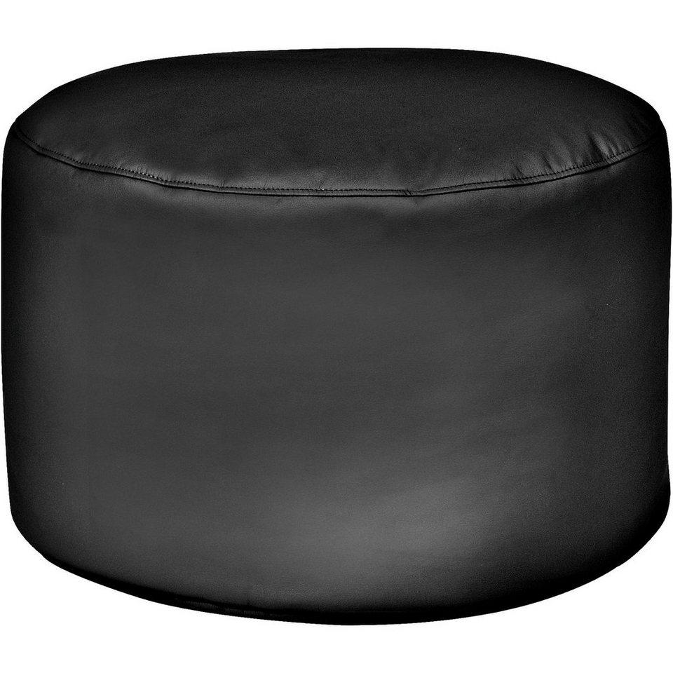 Sitzsack Drum, Kunstleder, schwarz in schwarz