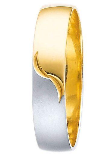 Firetti Trauring mit Gravur »5,0 mm, glanz, matt, Diamantschnitt, bicolor«, Made in Germany, wahlweise mit oder ohne Brillant