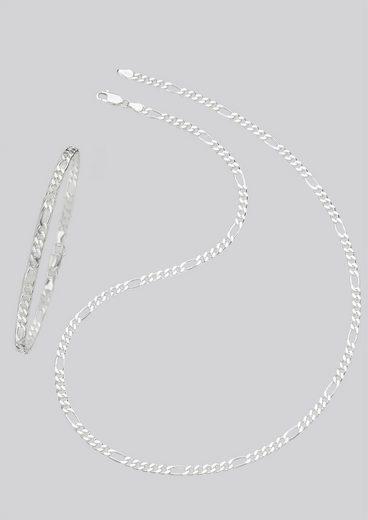 Firetti Schmuckset »Kette und Armband in Figarokettengliederung, 2-fach diamantiert« (Set, 2-tlg)