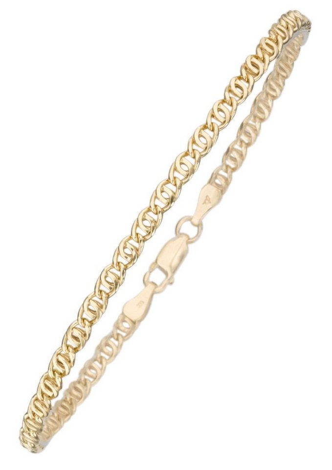 firetti Armschmuck: Armband in Tigeraugenkettengliederung in Gelbgold 375