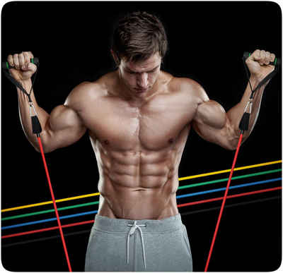 PRECORN 11 tlg. Trainingsband Set Resistance Band Muskelaufbau 100 % Latex Gymnastikband Theraband Fitnessbänder Fitness Krafttraining Widerstandsband Fitnessband Fitnessband, 11-tlg.