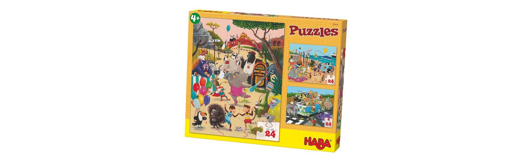 Haba 3er Puzzle-Set - Verrückte Tiere - 24 Teile
