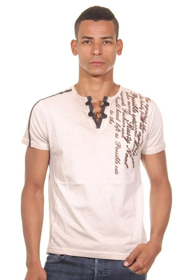 R-NEAL Henley T-Shirt slim fit in braun