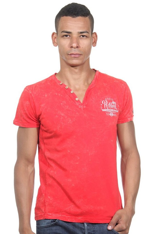 R-NEAL Henley T-Shirt slim fit in rot