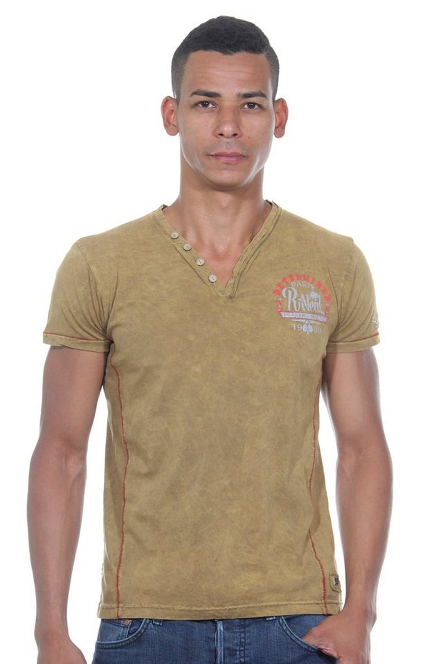 R-NEAL Henley T-Shirt slim fit in camel