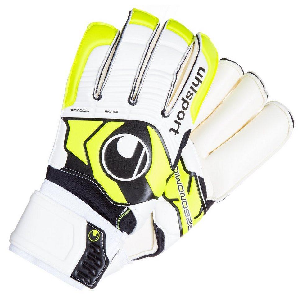 UHLSPORT Ergonomic Soft R Torwarthandschuh in weiß/gelb/schwarz