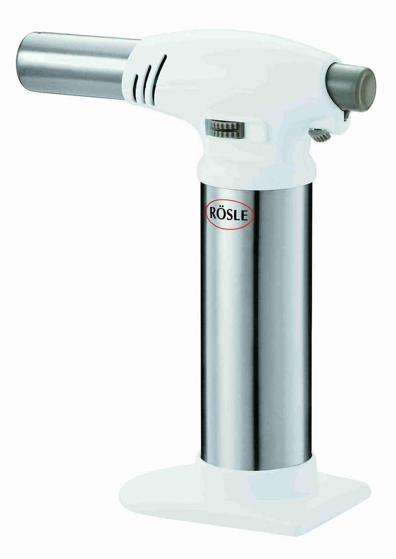 RÖSLE Flambierbrenner, Gasbrenner zum Flambieren von Crème Brûlée, stufenlose Flammenregulierung bis zu 1300 °C, Edelstahl 18/10