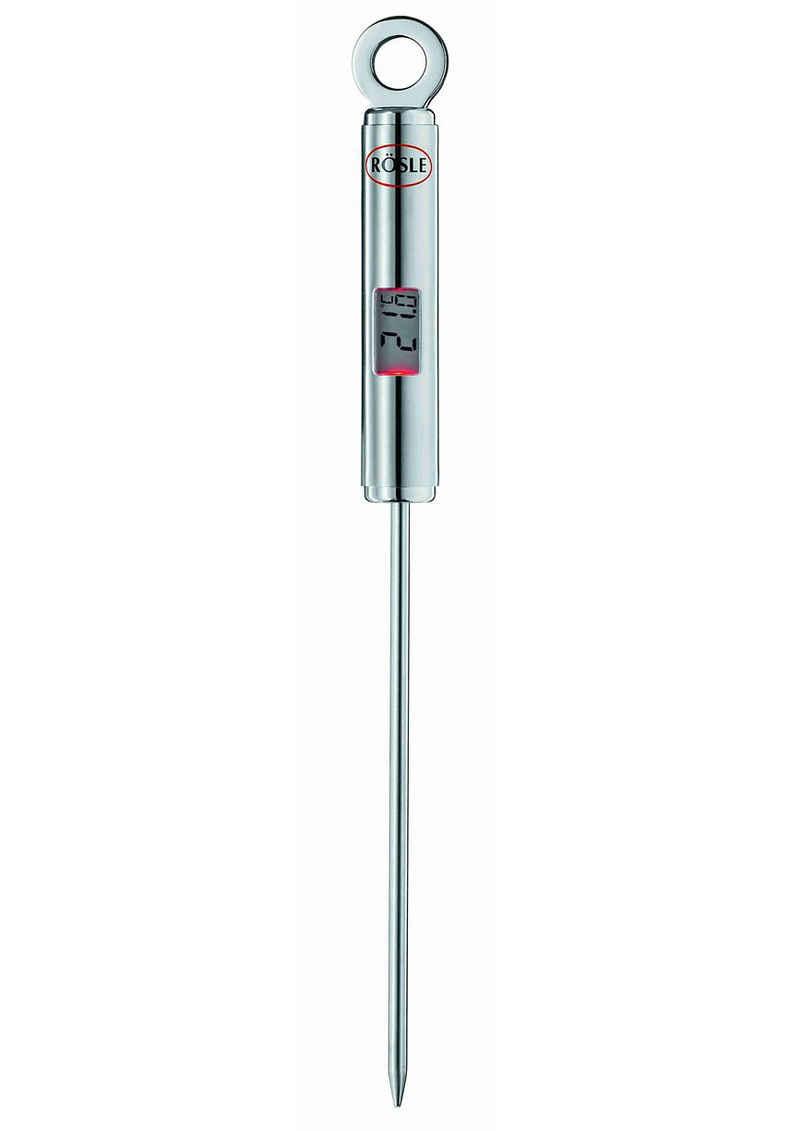 RÖSLE Bratenthermometer, Kochthermometer mit digitaler, beleuchteter Temperaturanzeige, in °C und °F, -40°C bis +200 °C, Edelstahl 18/10