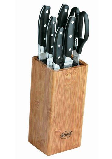 RÖSLE Messerblock »Cuisine« (7tlg), aus Bambusholz mit 5 scharf geschliffenen Messern und Küchenschere, ergonomische Griffe, Klingenspezialstahl
