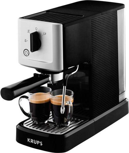 Krups Espressomaschine Calvi Steam & Pump XP3440, Edelstahl, 1 L Wassertank, Sehr kompakt, Schnelles Aufheizen