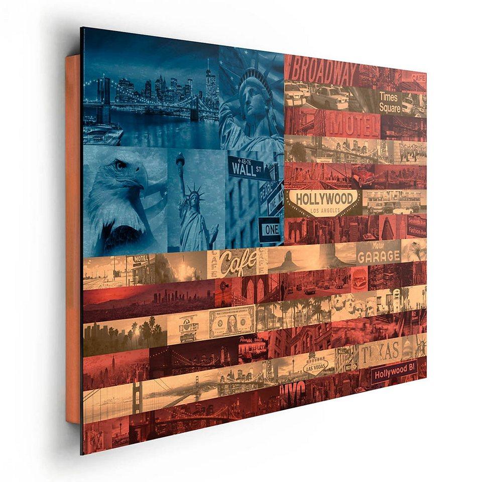 Home affaire, Deco Panel »Vereinigte Staaten Highlights Flagge«, 90/60 cm in bunt