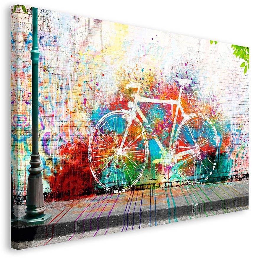 Home affaire, Deco Block »Wo ist das Fahrrad?«, 118/70 cm in bunt
