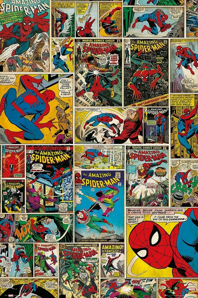 Home affaire, Deco Panel »Marvel - Spiderman Comic Covers«, 60/90 cm in bunt