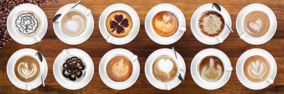 Home affaire, Deco Panel »Kaffee - Kunst mit Milch« 90/30 cm in braun/beige
